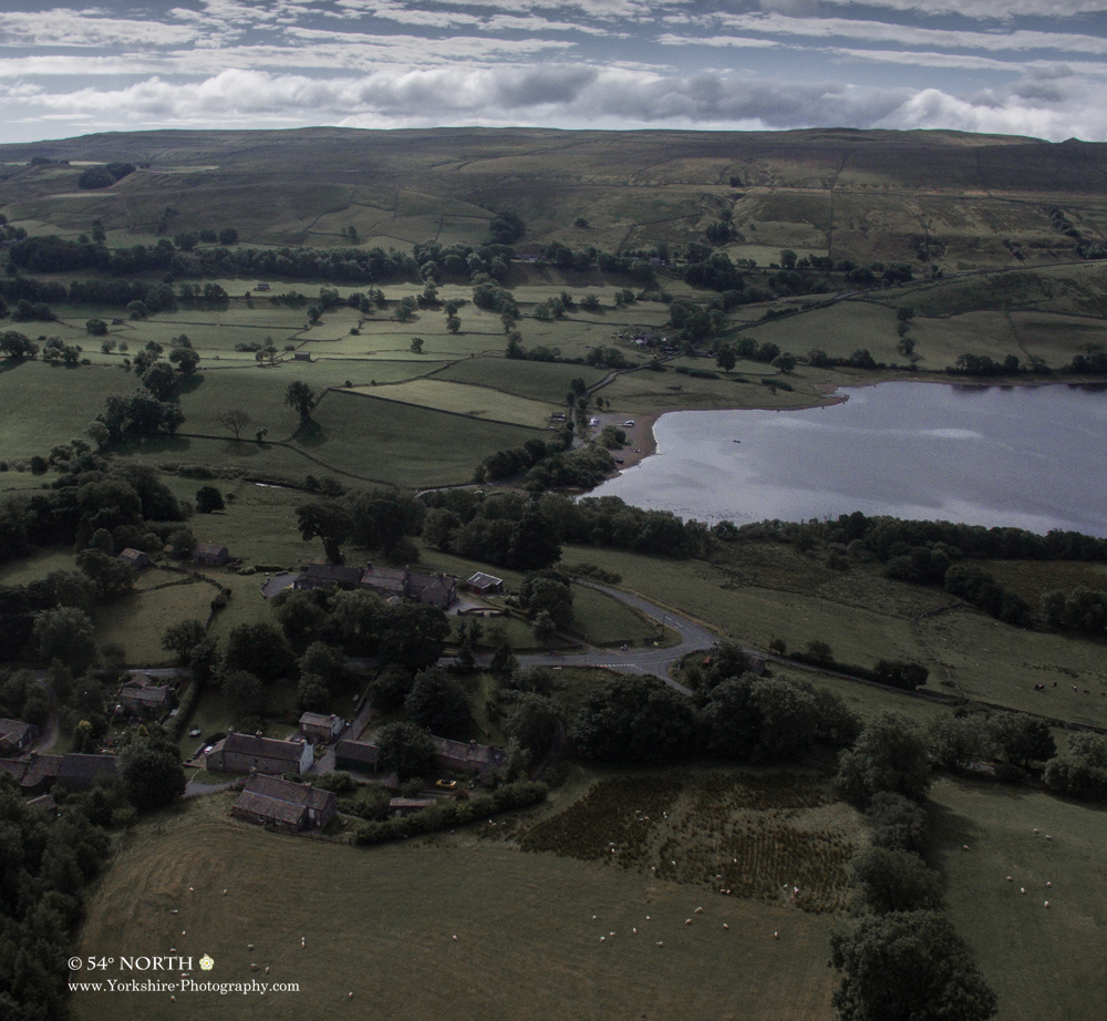 Aerial photo of Countersett and Lake Semerwater in Raydale, Yorkshire