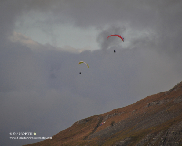 Paragliders in Littondale, Yorkshire