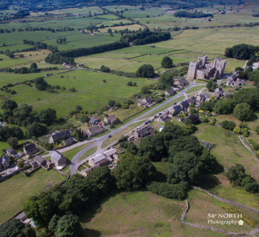 Aerial photo of Castle Bolton Wharfedale