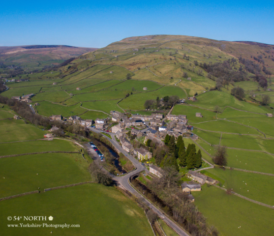 Aerial photo of Muker, Swaledale, Yorkshire.