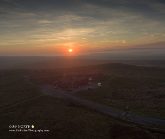 Sunset at Tann Hill Inn, Britain's highest pub.